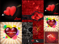Romantische Valentinstag Grußkarten Vektor Material
