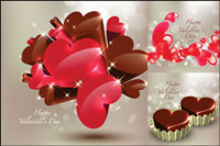 Stereoscopic heart-shaped chocolate Vector