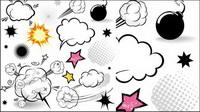 De style cartoon couche nuageuse champignons 01 - Vector