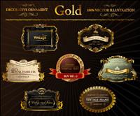 oro adornado vector etiqueta