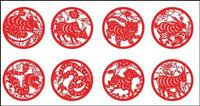 Zodiac Papier geschnittenen Vektor Material