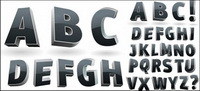 Trois dimensions alphabet vecteur