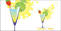 Bande dessin��e de verre et de jus de fruits haut 05 - Vector