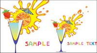 Bande dessin��e de verre et de jus de fruits haut 04 - Vector