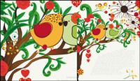 Handgezeichneten Illustrationen der Liebe Vögel 03 - Vektor-Material