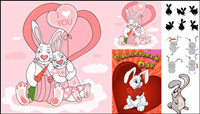Cute cartoon rabbit - Vector