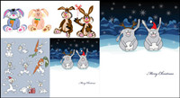 Lindo conejo de dibujos animados - Vector