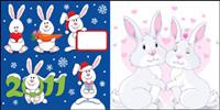 Hermoso conejo de Navidad - Vector