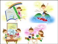 De verano para niños Vector 1
