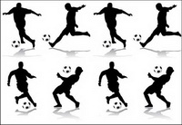 4 Action de football chiffres silhouette Vector
