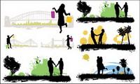 Les gens, les bâtiments, la silhouette de sc��nes 01