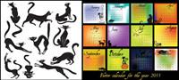 Th��me de chat noir de la mati��re calendrier 2011 vectoriel