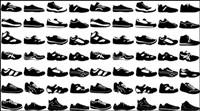Vielzahl von schwarzen und weißen Sportschuhen