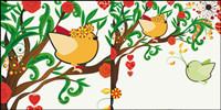 illustrations peintes �� la main Amour oiseaux 01 - Vecteur