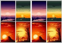 Vector paysages magnifique coucher de soleil