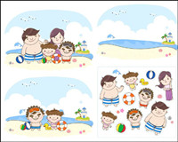 Famille �� la plage pour jouer Vecteur