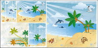 Vector cartoon beach scenery