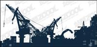 Vector Silhouette von schweren Maschinen auf der Baustelle