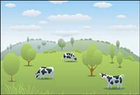 vaches des pâturages Vecteur