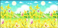 La p��riph��rie de fleurs et de mat��riel vecteur papillons