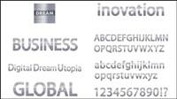 Metall Textur der Buchstaben des Alphabets Vektor-Material