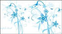 Simple peints �� la main des fleurs et fond bleu texte Vector -5