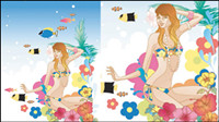 Dibujos animados de moda exquisita aplastar 04 - vector de material