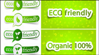 Low-Carbon Green Thema label Banner-Design Vektor Material -2