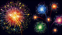 Colorful fireworks material 01 - Vector