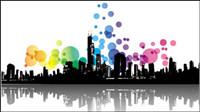 Él��ments de la tendance et la silhouette urbaine 02 - mat��riel vecteur