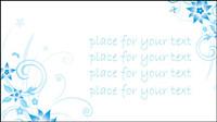 Simple bleus peints �� la main des fleurs et des modes de vecteur de fond du texte -4