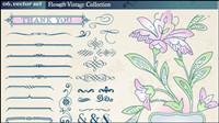 Europ��enne r��tro du mat��riel floraux en dentelle mod��le vectoriel -2