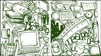Cartoon peint �� la main 03 - mat��riel vecteur