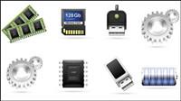 Computer th��me accessoires vecteur mat��riel icône