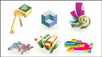 3D lifestyle art icon vector material
