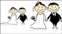 Comic-Stil Hochzeit Elemente 05 - Vektor