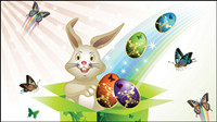 Osterkarte Schmetterlinge und verzierte Eier 02 - Vektor