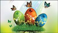 Papillons carte de Pâques et les oeufs d��cor��s - 01 vecteurs