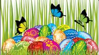 Pascua y los huevos de las mariposas tarjetas decoradas 04 - vectoriales