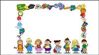 La escuela de dibujos animados suministros 03 - vector de material