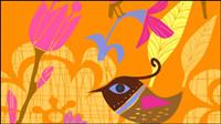 Belle peints �� la main des fleurs et des oiseaux -3 Vecteur