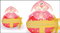 Cartoon bunny and egg 05-- vector material
