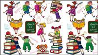 Lindos niños de dibujos animados de colores y las niñas 01 - imagen del vector