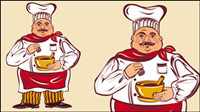 Cartoon characters chef 03-- vector material