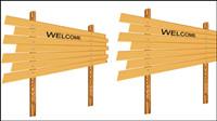 Dibujos animados de madera, señales de 04 - vector de material