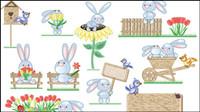 Cute Bunny Ostereier Vector -2