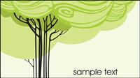 Dibujos animados dibujos de l��neas de ��rboles 02 - vector