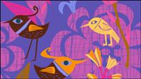 Lovely peints �� la main des fleurs et des oiseaux vecteur -1