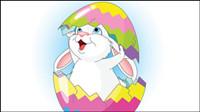 Lapin de dessin anim�� et les œufs 02 - vecteur