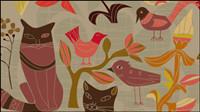 Los p¨¢jaros decorativos de estilo de dibujos animados y los gatos 01 - vector